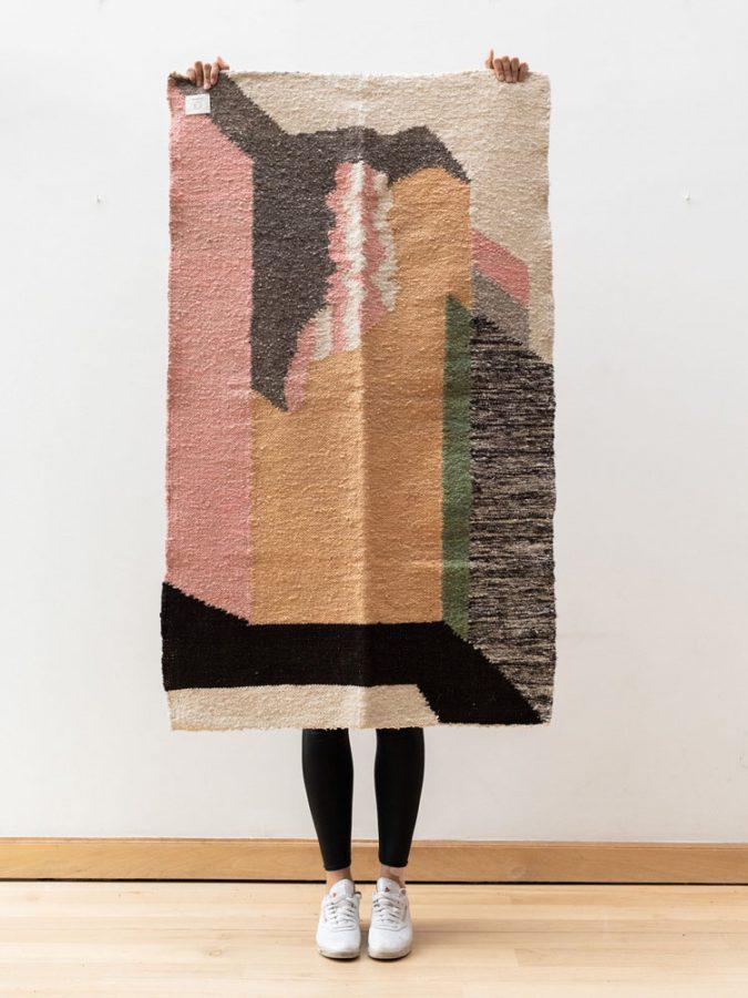 handwoven wool rugs foot-loom hand-spun wool yarn contemporary design