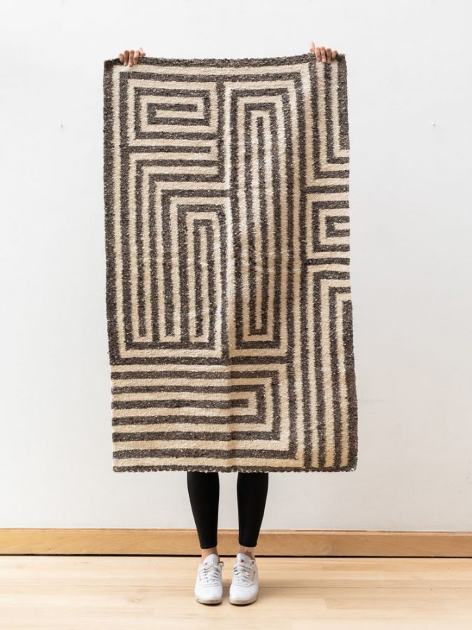 hand-spun handwoven wool rug foot-loom interior design product