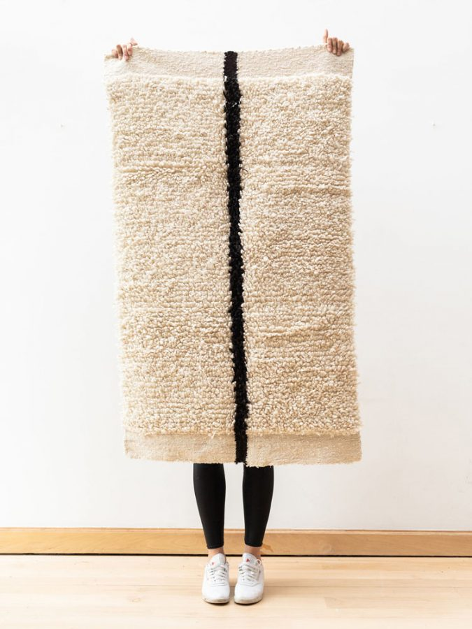 hand-spun wool yarn handwoven on the foot-loom contemporary design rugs